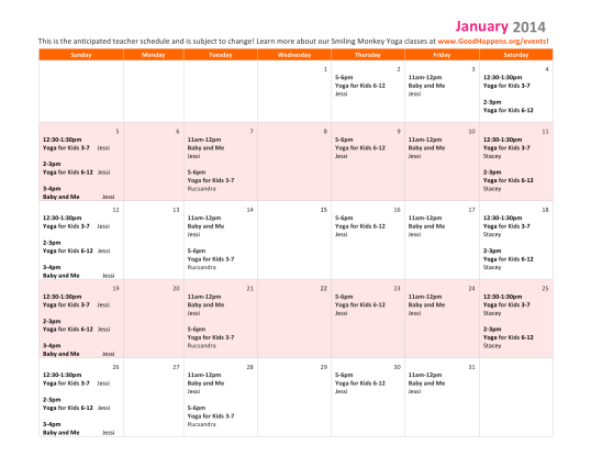 January SMY Teacher Schedule